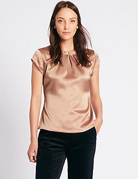 Pleat Front Satin Cap Sleeve Shell Top