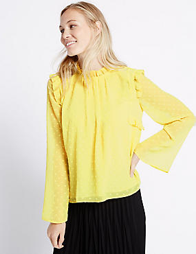Dobby Round Neck Fluted Sleeve Blouse