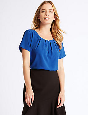 PETITE Pleated Front Round Neck Shell Top, ROYAL BLUE, catlanding