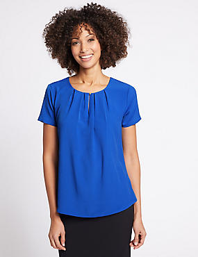 Pleat Front Short Sleeve Shell Top