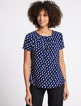 Pleat Front Geometrical Print Shell Top
