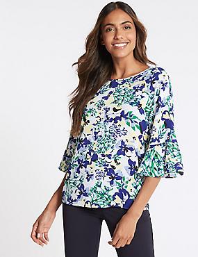 Floral Print Kimono 3/4 Sleeve Shell Top, BLUE MIX, catlanding