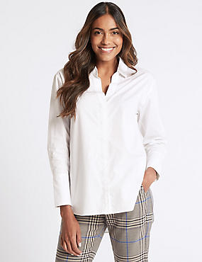 Pure Cotton Long Sleeve Longline Shirt, WINTER WHITE, catlanding