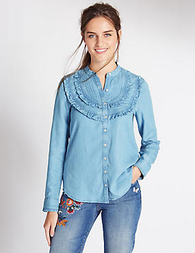 Pure Cotton Ruffle Shirt