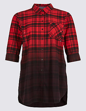 PLUS Pure Cotton Checked Longline Shirt