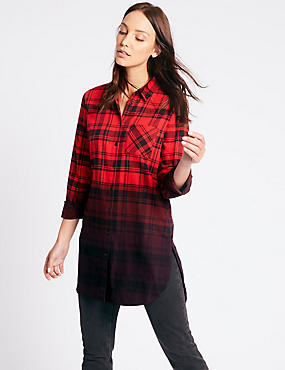 Pure Cotton Checked Longline Shirt