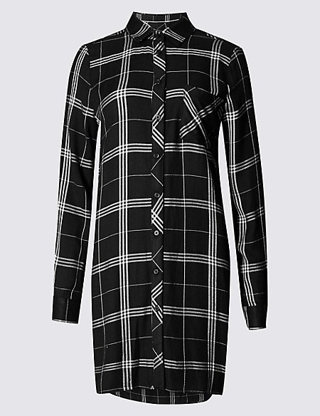 Longline Checked Long Sleeve Shirt