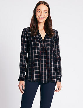 Lurex Checked Long Sleeve Shirt