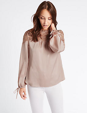 Embroidered Yoke Long Sleeve Blouse