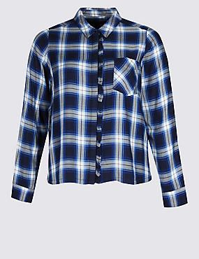 PLUS Checked Ruffle Long Sleeve Shirt