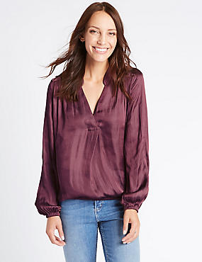 Popover Notch Neck Long Sleeve Blouse