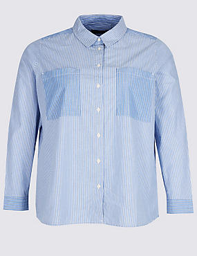 PLUS Pure Cotton Striped Long Sleeve Shirt