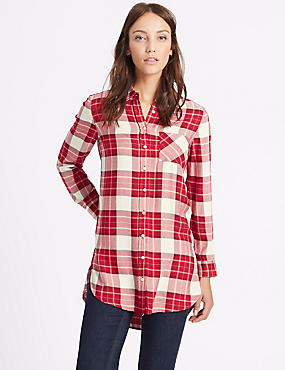 Checked Longline Long Sleeve Shirt
