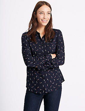 Printed Long Sleeve Shirt, NAVY MIX, catlanding
