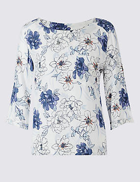 Floral Print 3/4 Sleeve Shell Top
