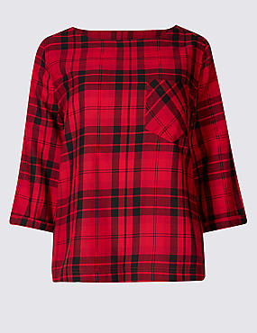 Modal Rich Checked 3/4 Sleeve Shell Top