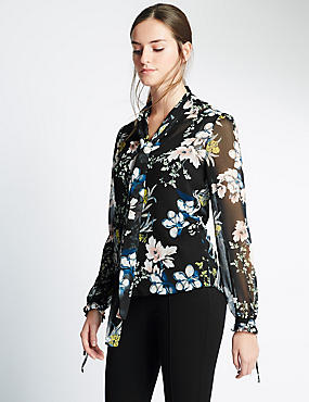 Fluted Pussybow Floral Blouse