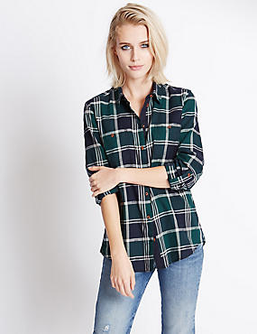 Pure Cotton Checked Shirt with Buttonsafe™