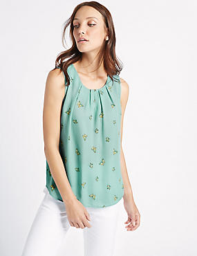 Butterfly Print Pleated Round Neck Vest Top