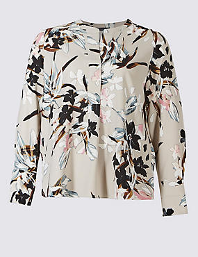 PLUS Floral Print Long Sleeve Tunic