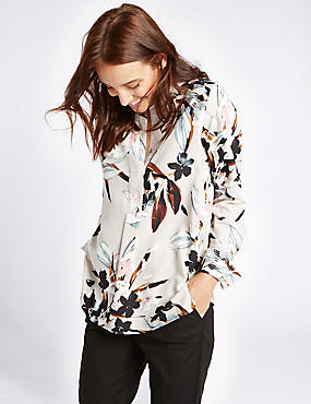 Floral Print Notch Neck Long Sleeve Blouse