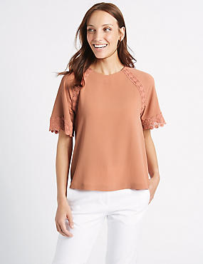 Crochet Trim Half Sleeve Shell Top