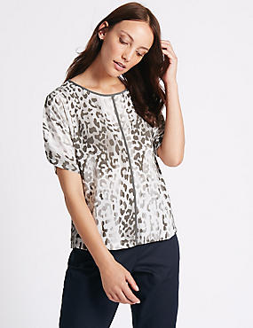 Animal Print Kimono Half Sleeve Shell Top