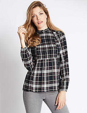 High Neck Smocked Checked Blouse