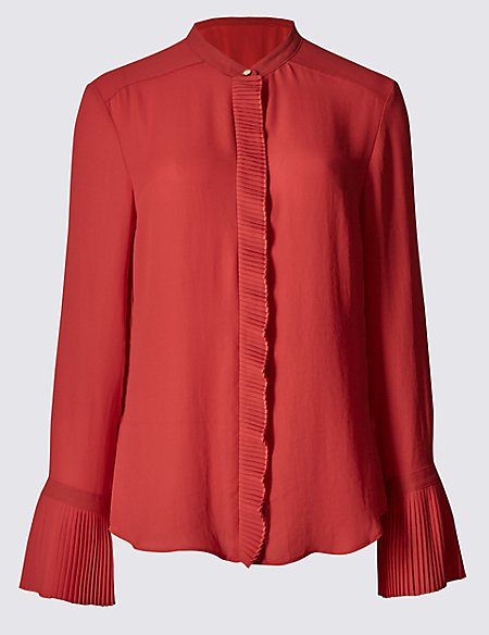 Frill Collared Neck Long Sleeve Blouse