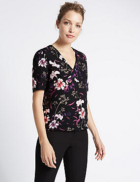 V-Neck Floral Print Shell Top