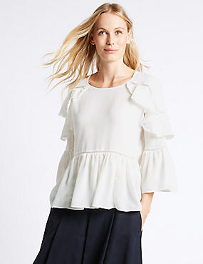 Ruffle Round Neck Flared Sleeve Blouse