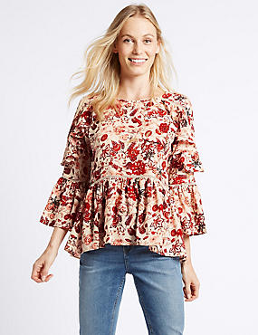Floral Print Ruffle Sleeve Blouse
