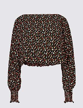 Floral Print Slash Neck Long Sleeve Blouse, BLACK MIX, catlanding