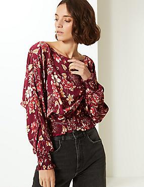 Floral Print Slash Neck Long Sleeve Blouse, BURGUNDY MIX, catlanding