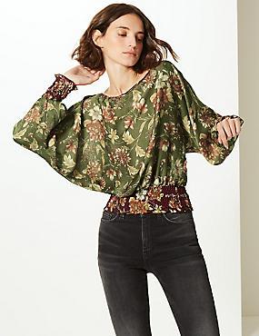 Floral Print Slash Neck Long Sleeve Blouse, KHAKI MIX, catlanding