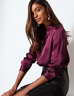 Pure Silk Long Sleeve Shirt , PLUM, catlanding