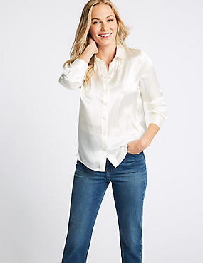 Pure Silk Long Sleeve Shirt , IVORY, catlanding