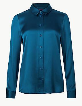Pure Silk Long Sleeve Shirt , DARK MARINE, catlanding
