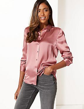 Pure Silk Long Sleeve Shirt , ROSEWOOD, catlanding