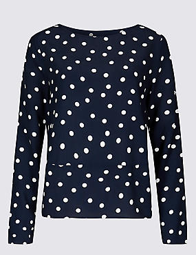 Spotted Round Neck Long Sleeve Blouse  , NAVY, catlanding