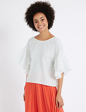 Round Neck Flamenco Sleeve Shell Top