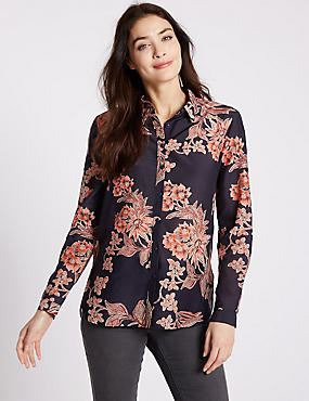 Cotton Silk Floral Print Long Sleeve Shirt