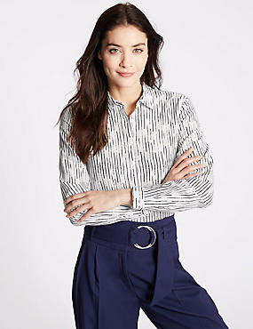 Cotton Silk Striped Long Sleeve Shirt
