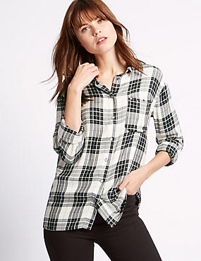 Long Sleeve Checked Blouse