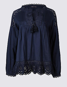Pure Cotton Cutwork Peasant V-Neck Blouse
