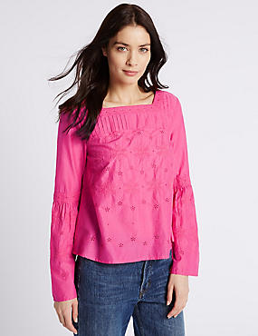 Pure Cotton Fluted Sleeve Blouse