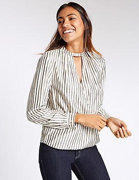 Striped Notch Neck Long Sleeve Blouse