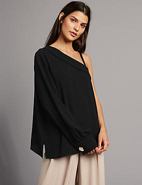 One Shoulder Frill Neck Long Sleeve Blouse