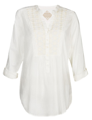 Pure Cotton Embroidered Blouse Clothing
