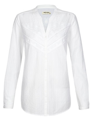 Pure Cotton Front Lace Shirt Clothing